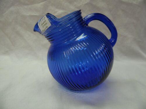 VINTAGE COBALT BLUE GLASS ROUND PITCHER WITH ICE LIP, ANCHOR HOCKING RARE SIZE