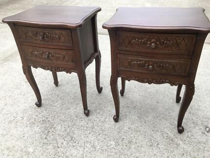 Bedside Tables/Side Tables(2)-French Rococo carvings, excel cond.