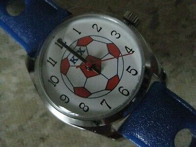 Kix Cereal Watch (never used) Wristwatch Plastic Band Soccer Ball Blue Red White