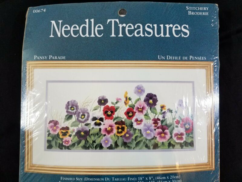 Needle Treasures Pansy Parade Needlepoint Crewel Floral Embroidery Kit USA