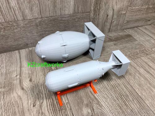 Fat Man & Little Boy Atom Bomb Models - 3D Printed 1/24 - WW2 US Military 1945