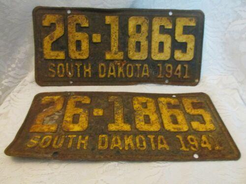 Two Vintage 1941 South Dakota Automobile License Plates
