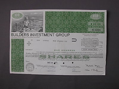 Builders Investment Group   Stock Certificate Azione Aktie Acci N Share Action