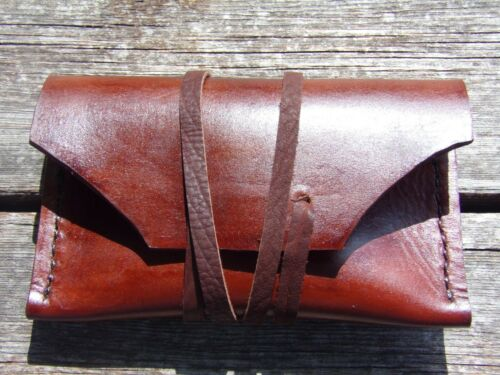 HANDMADE BROWN LEATHER WOODSMAN BUSHCRAFT MOUNTAINMAN FLINT & STEEL POUCH #2
