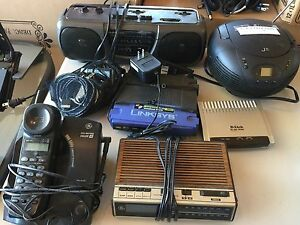 Phone, radios/cassette player, router, modem
