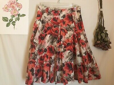 Ladies Midi Floral Skirt A-Line Sz 8 Red Poppies Spring Pleated WILLI SMITH