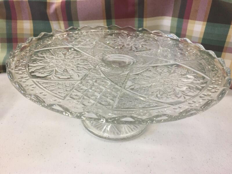 Antique Embossed Footed Holiday Cake Plate