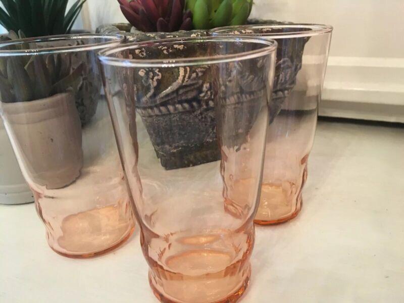 3 vintage pink depression glasses