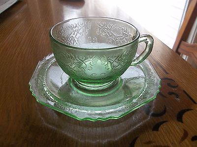 GREEN FLORENTINE #1 POPPY TEA CUP AND SAUCER DEPRESSION GLASS
