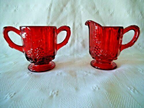VTG PANEL GRAPE RUBY RED CREAMER & SUGAR ~ 1940s