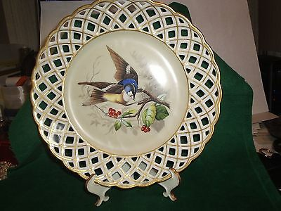 COLLECTOR PLATE W/ BIRD HAND PAINTED DRESDEN LATTICE  SCROLL not mrkd frm 1900's