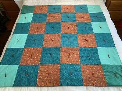 Handmade Teal Turquoise Rust Floral Cotton Quilt Throw Lap Blanket 54