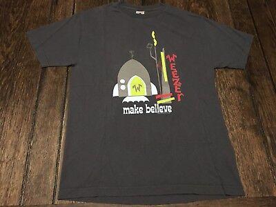 """WEEZER """"Make Believe"""" mens L large gray shirt rocket ship rivers cuomo geek rock"""