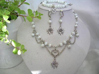 Trachtenschmuck-Set 3-tlg. weiß AB geschl. Glasperlen Halskette, Armband (Trachten Schmuck Perle Halskette)