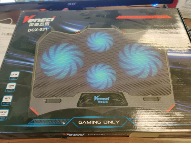 Vencci Gaming Laptop Cooler Notebook Cooling Pad, 4 Silent Blue LED Fans