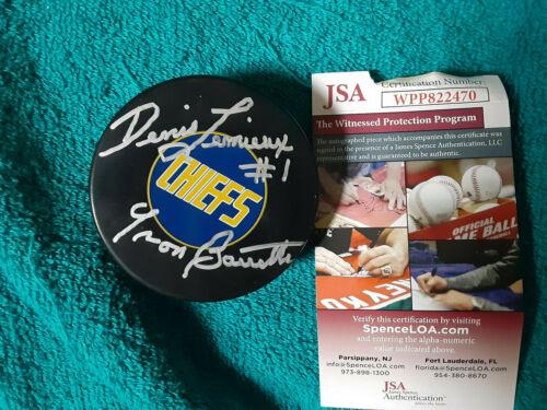 SLAP Shot Goalie Yvon Barrette  autographed custom puck & Holder JSA Certified