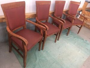 Solid Sturdy Oak Wood Chairs With Arms 4 Chairs for $80!