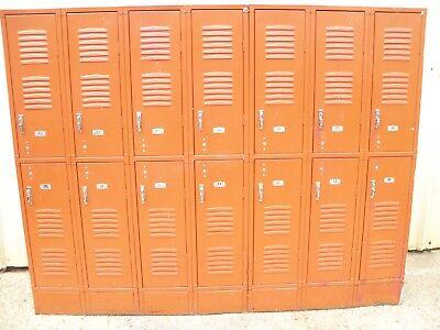 Vintage Metal Astro Orange Republic Steel Employee Gym Man Cave 7 Bay 14 Lockers