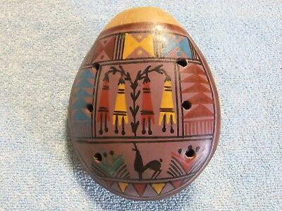 Hand-Painted 8-Hole Ocarina, Mesoamerican Origin w/Beautiful Artwork