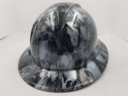FULL BRIM Hard Hat custom hydro dipped , NEW PARADISE LOST SKULLS GUNMETAL NEW 3