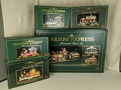 Vintage Bright Christmas The HOLIDAY EXPRESS Animated Train Set w/ 4 extra Cars