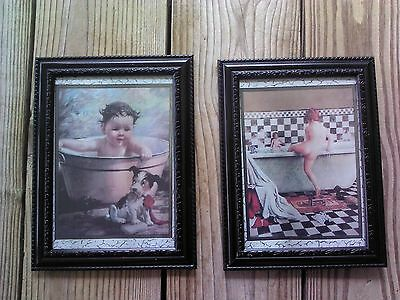 💗 Vintage Kids In Tub Pictures 5x7 Bathroom Wall Hanging Home Decor - Bathroom Wall Hanging