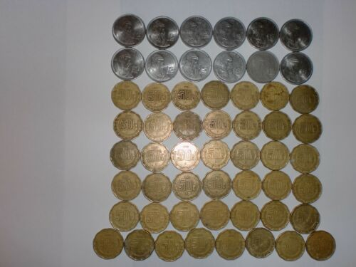 - MEXICO COIN LOT OF  55  OLD & NEW COINS - 1 PESO & 50 CENTAVOS -1984-2008 -DUP