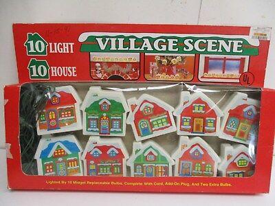 Vintage Christmas Village Scene Mini 10 House String Lights Set in Original Box