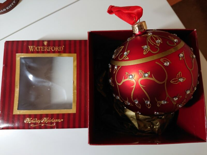Waterford Jeweled Holiday Scroll Ball Ornament