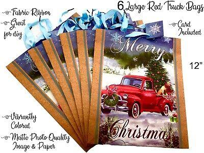 Antique Red Truck Christmas Tree Decor 6 Gift Bags w Fabric Ribbon Set Xmas Vtg
