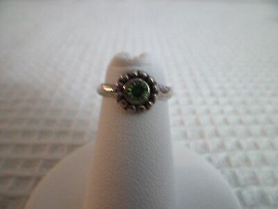 Sterling Silver Open Toe Ring Adjustable Style 12 Green w/GiftBox/Giftbag Gift