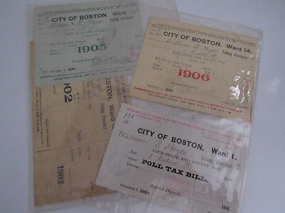 Lot of 4 Antique City of Boston Tax Bill Receipts