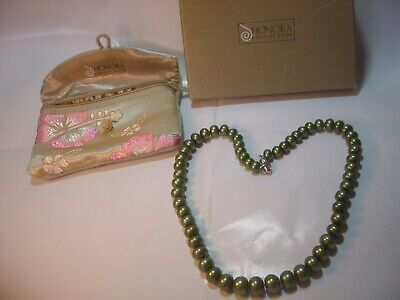 """SUPERB-18"""" QUALITY """"HONORA """" GENUINE GREEN PEARLS NECKLACE-FANCY SILVER CLASP"""