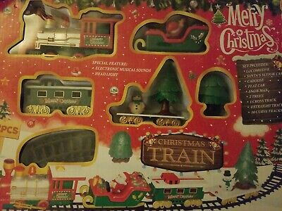 CHRISTMAS TRAIN TOY SET WITH ELECTRONIC MUSICAL SOUNS AND HEAD LIGHT