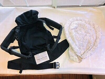 Ergo Baby Organic Cotton Carrier w/ Padded Insert Swadler - Black - 12 to 45 lbs