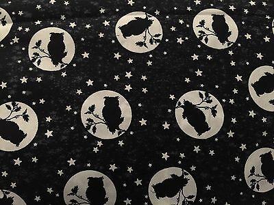 Owls Owl Silhouette Over Moon & Stars GLOW IN THE DARK Halloween Fabric BTHY