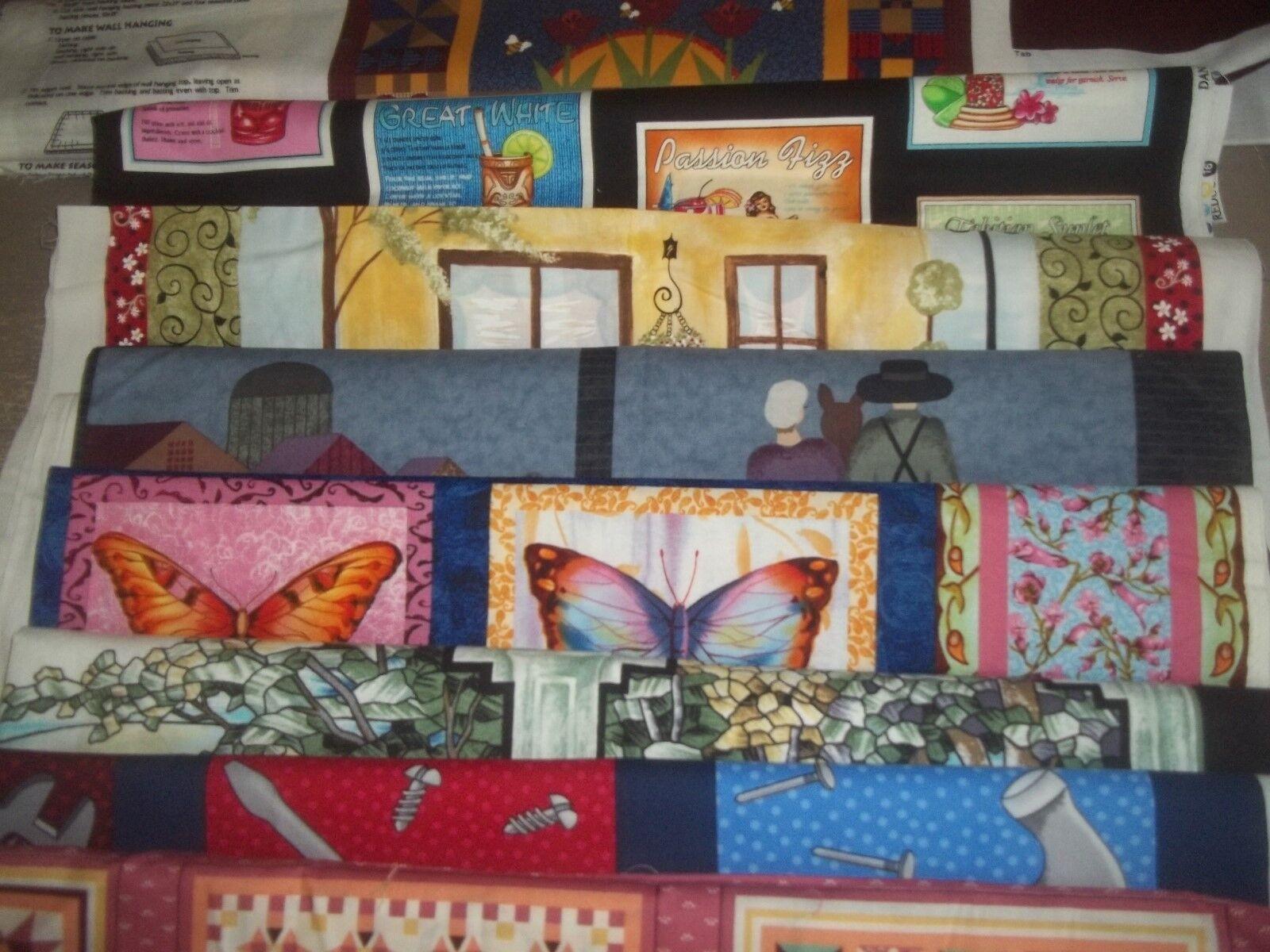 HOUSE home GARDEN pets FLOWER PANEL Cotton Quilt Fabric U-PI