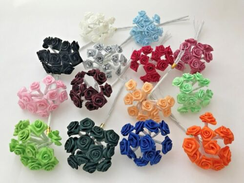 """1/2"""" Satin Ribbon Roses Flowers Wire Stem Small Assorted Colors 144 pieces New"""