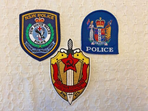 ASSORTED VINTAGE FOREIGN POLICE PATCHES / LOT OF 3 /  (F)  USSR / NEW ZELAND
