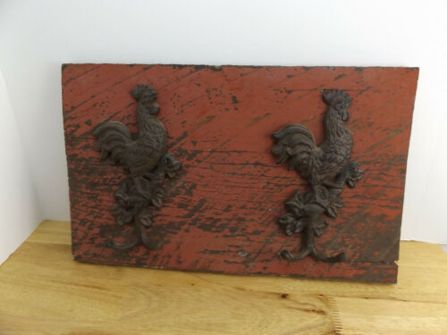 Reclaimed Barn Wood With Cast Iron Rooster Coat Hangers Farmhouse Ranch Decor