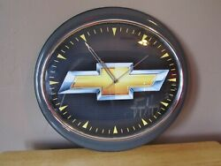 CHEVY LOGO Oval Shaped Battery Operated Wall Clock~Garage/Man Cave/Basement