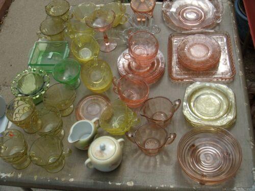 26 ANTIQUE DEPRESSION GLASS DISHES