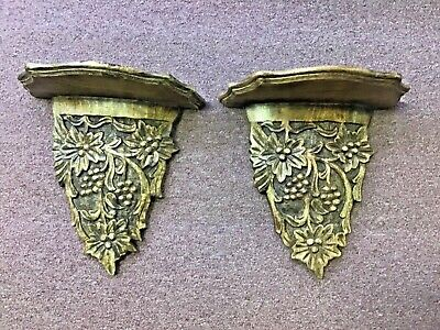 PAIR of Antique Oak carved wood Wall Sconce grapes design. Made in India.