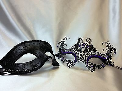 His and Hers Masquerade mask pair for couple Dress up Christmas New Year Party