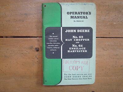 John Deere No. 62 Hay Chopper & No. 64 Ensilage Harvester Operators Manual