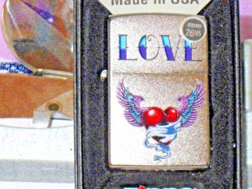 New USA Windproof Zippo Lighter 13438 Love Tattoo Heart Satin Chrome Case C 18