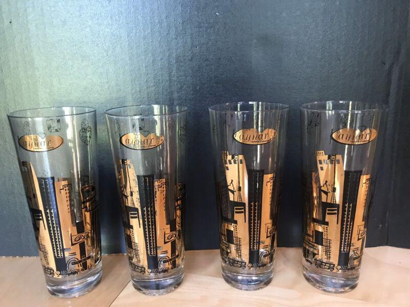 MCM Kaynar Diamonds 12 oz Wraparound Black & Gold Glasses 12 oz Cityscape Set 4
