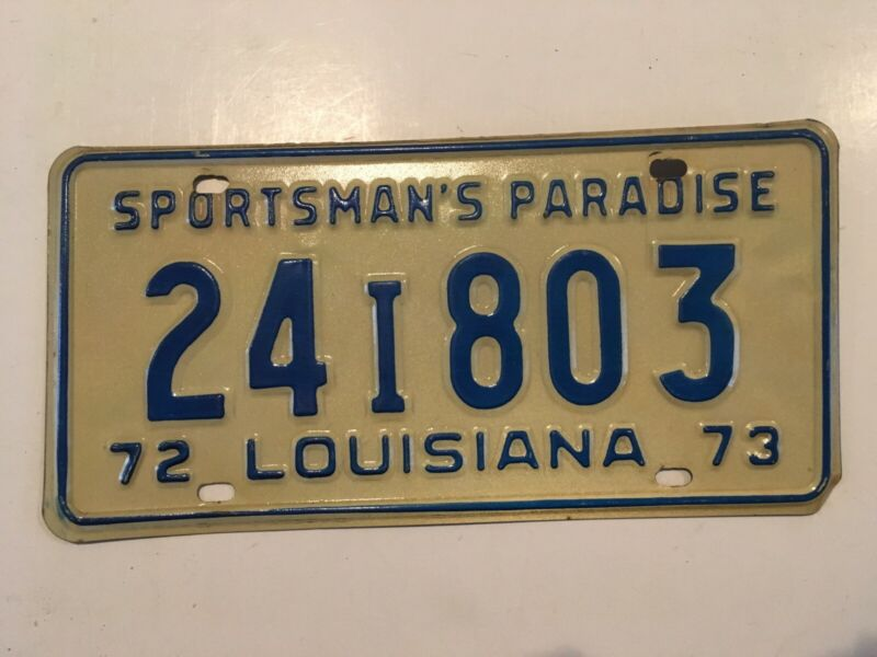 "1972 1973 Louisiana License Plate ""VERY GOOD"" Nice All Original"