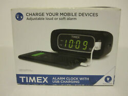 Timex LED Display Alarm Clock USB Universal Charger Snooze Battery Backup