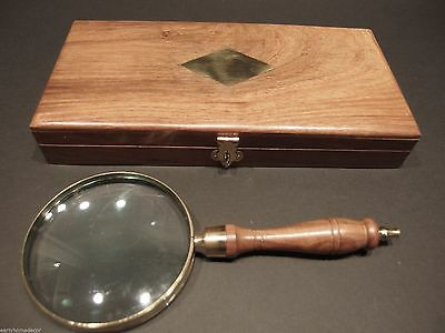 """4"""" 5x Antique Style Magnifying Glass Brass w Wood Turned Hand Lens Desktop Box"""